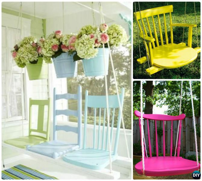 DIY Recycled Chair Swing Instruction-- Ways to Repurpose Old Chairs DIY Ideas