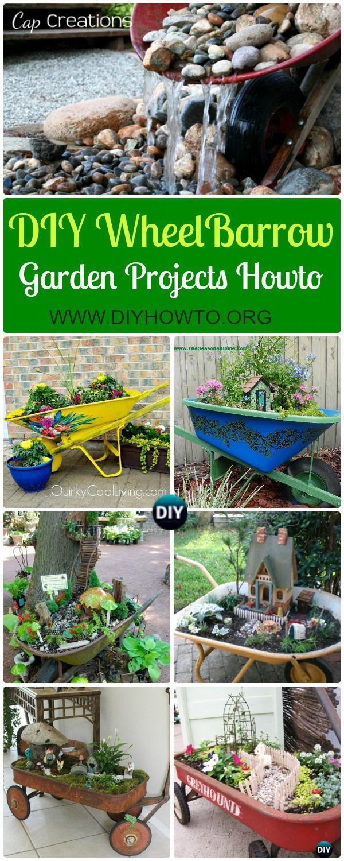 Collection of DIY WheelBarrow Garden Projects: DIY WheelBarrow Garden Planter Free Plan,  WheelBarrow Fairy Garden,  Wheel Barrow Garden Fountain