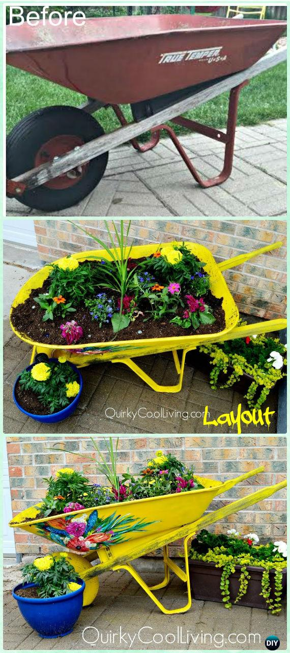 DIY Artsy Upcycled Wheelbarrow Mini Garden Instruction - DIY WheelBarrow Miniature Garden Projects