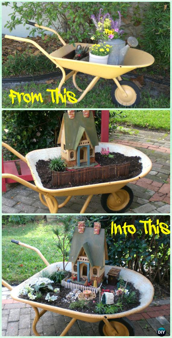 DIY Wheel Barrow Miniature Primitive Garden Instruction - DIY WheelBarrow Miniature Garden Projects