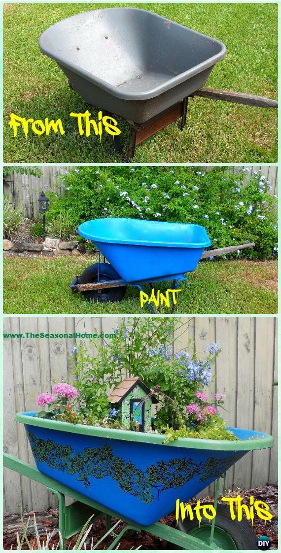 DIY Secret Upcycled Wheelbarrow Fairy Garden Instruction - DIY WheelBarrow Miniature Garden Projects
