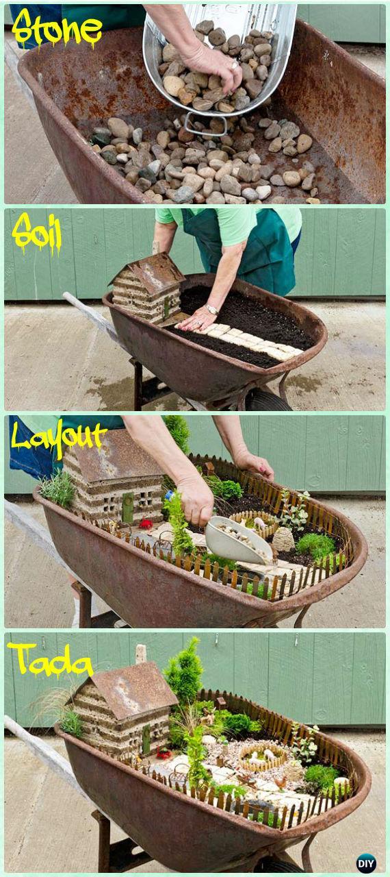 DIY Wheel barrow Fairy Garden Instruction - DIY WheelBarrow Miniature Garden Projects