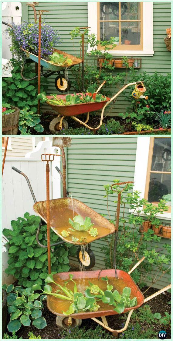 DIY Wheelbarrow Garden Fountain Instruction - DIY WheelBarrow Miniature Garden Projects