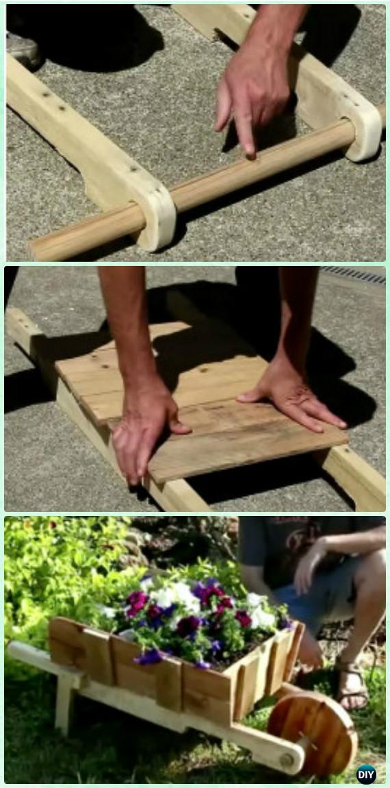 DIY Rustic Wood Wheelbarrow Garden Planter Instruction [Video] - DIY WheelBarrow Miniature Garden Projects
