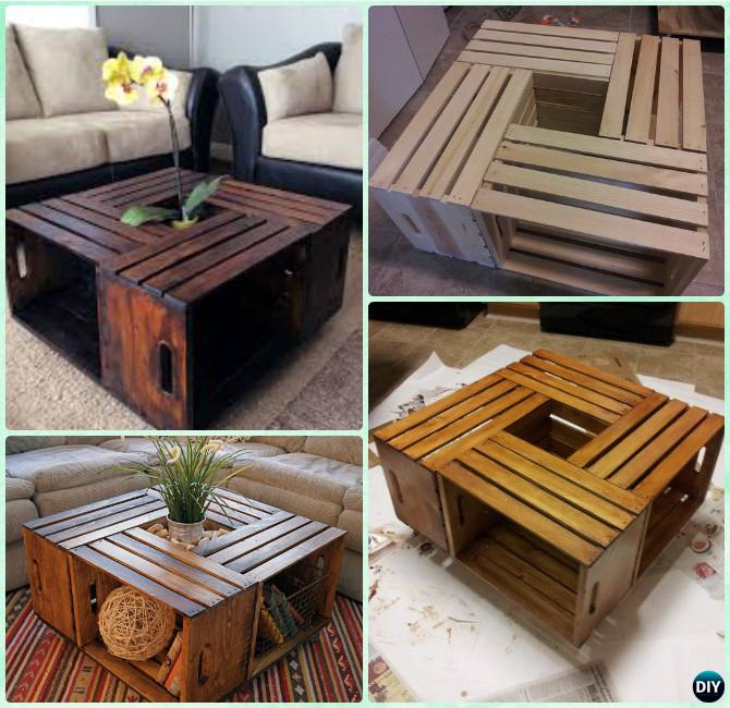 DIY Wine Wood Crate Coffee Table Free Plans - Four-Crate-Coffee Table on - DIY Wood Crate Coffee Table Free Plans [Picture Instructions]