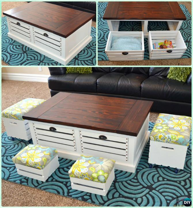 DIY Wine Wood Crate Storage Coffee Table Stool Free Plan