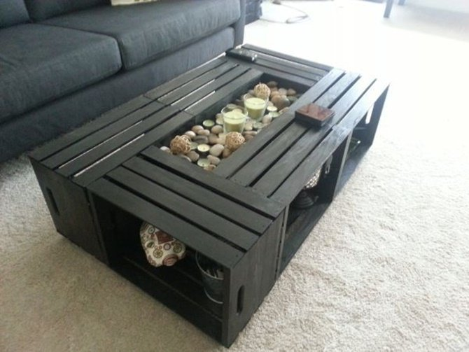 DIY Wine Fruit Wood Crate Coffee Table Free Plan 6 wood crates