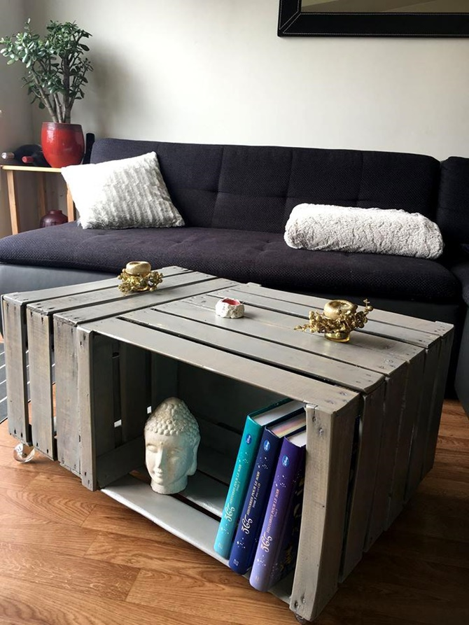 DIY Wine Fruit Wood Crate Coffee Table Free Plan 3 wood crates