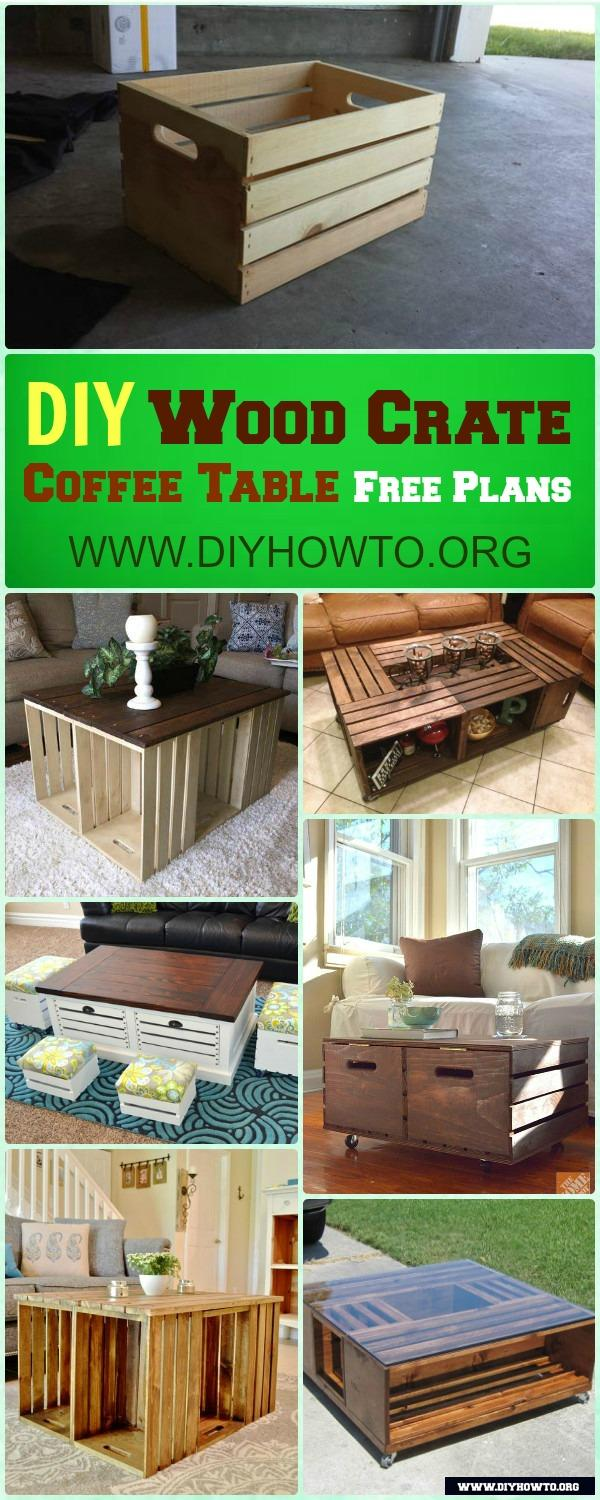 Diy wood crate coffee table free plans picture instructions how to make wood crate build up different coffee table designs with 2 wood crates geotapseo Images