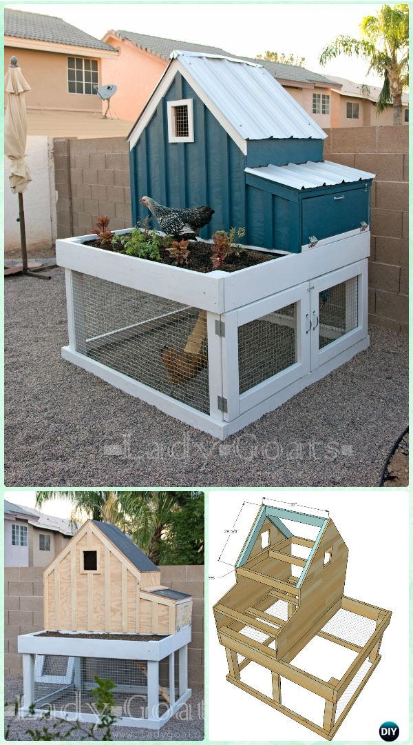 DIY Small Chicken Coop with Planter Free Plan & Instructions - DIY Wood Chicken Coop Free Plans