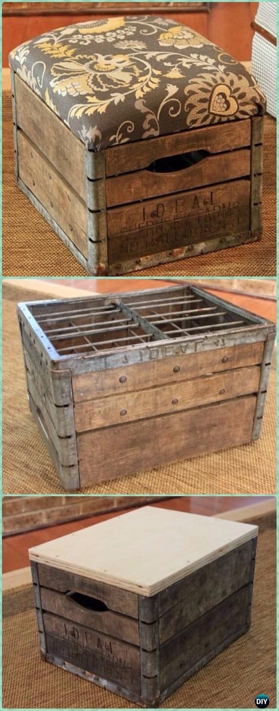 Attractive DIY Wood Crate Ottoman Instructions   DIY Wood Crate Furniture Ideas  Projects