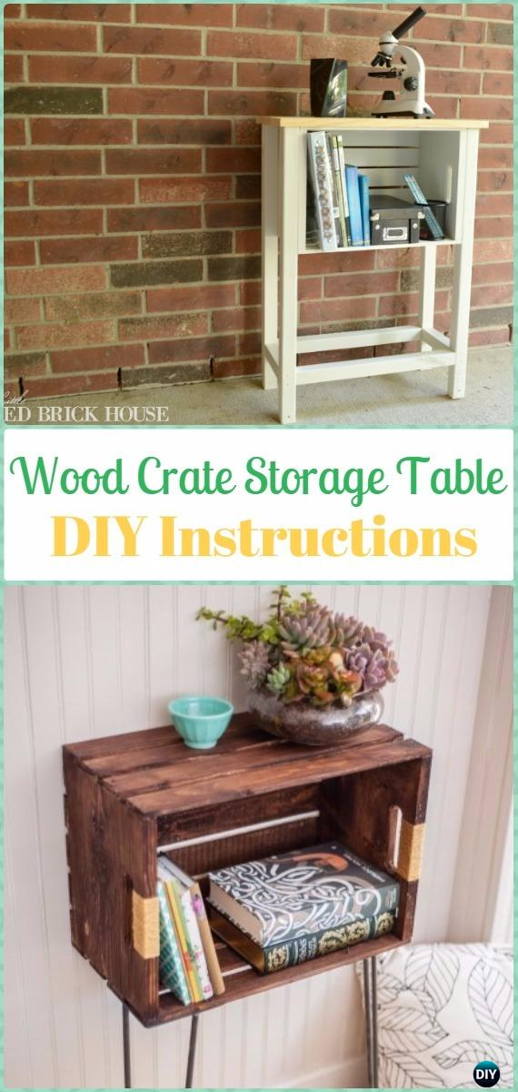 DIY Wood Crate Storage Table Instructions - DIY Wood Crate Furniture Ideas Projects