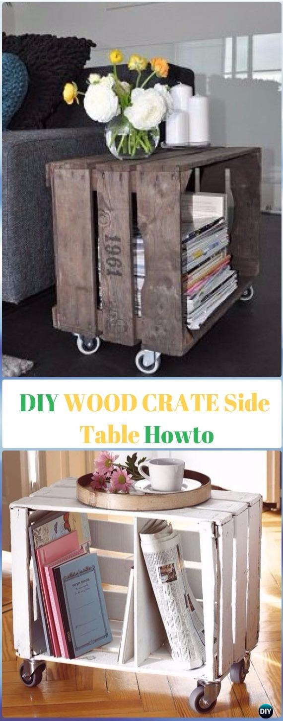 DIY Wood Crate Side Table Instructions - DIY Wood Crate Furniture Ideas Projects