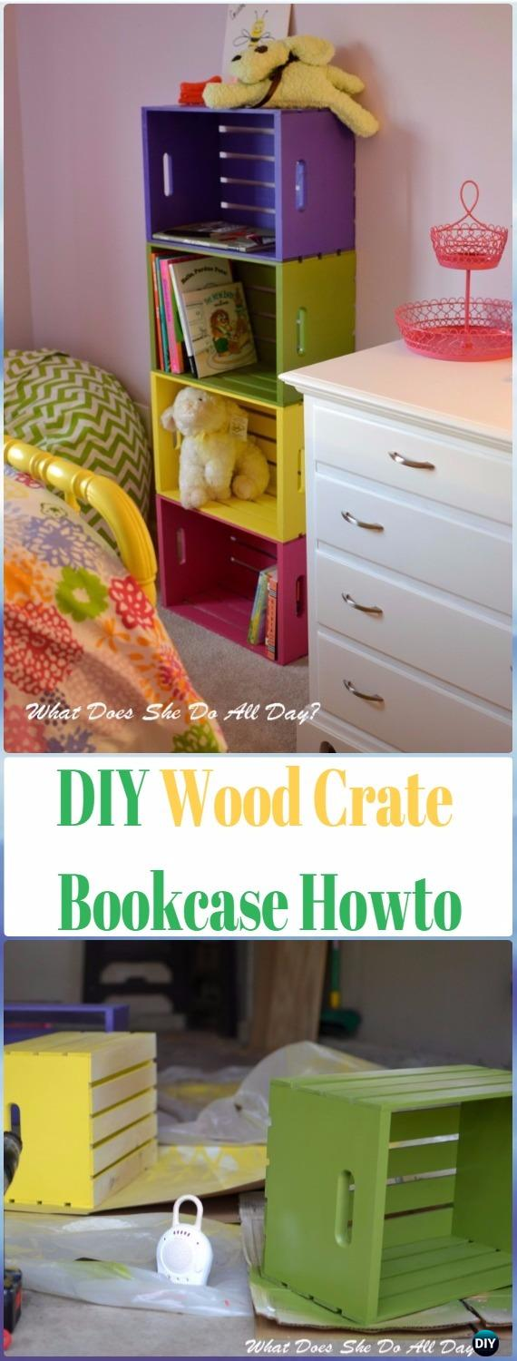DIY Wood Crate Bookcase Instructions - DIY Wood Crate Furniture Ideas Projects