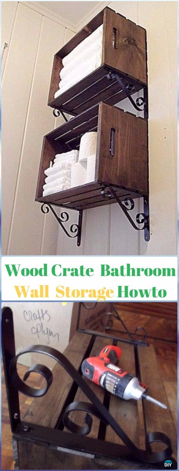 DIY Wood Crate Bathroom Storage Organizer Instructions   DIY Wood Crate  Furniture Ideas Projects