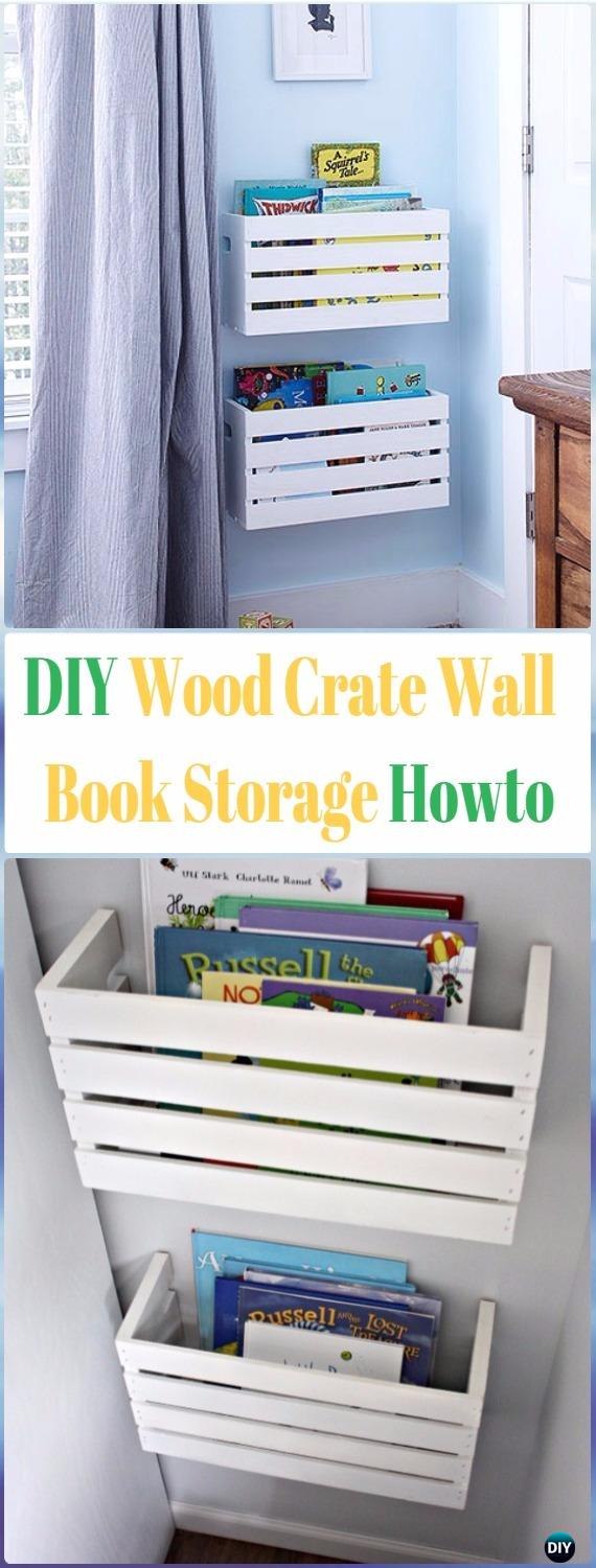DIY Wood Crate Wall Bookshelf Instructions - DIY Wood Crate Furniture Ideas Projects