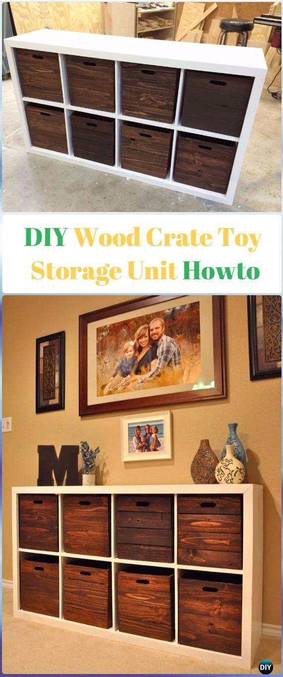 DIY Wood Crate Toy Storage Unit Instructions   DIY Wood Crate Furniture  Ideas Projects