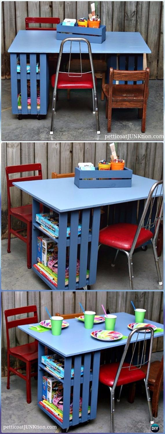 DIY Kids Crate Table Workstation Instructions - DIY Wood Crate Furniture Ideas Projects