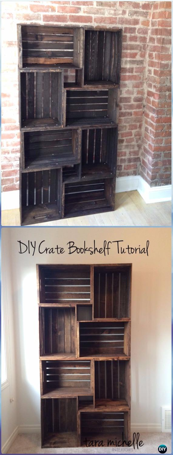 wood crate furniture diy. DIY Wood Crate Bookshelf Instructions - Furniture Ideas Projects Diy