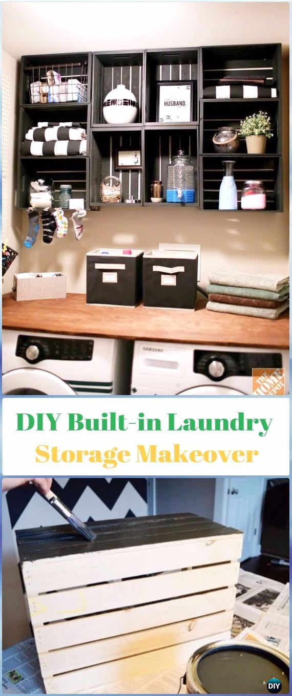 DIY Wood Crate Built in Laundry Storage Makeover Instructions - DIY Wood Crate Furniture Ideas Projects