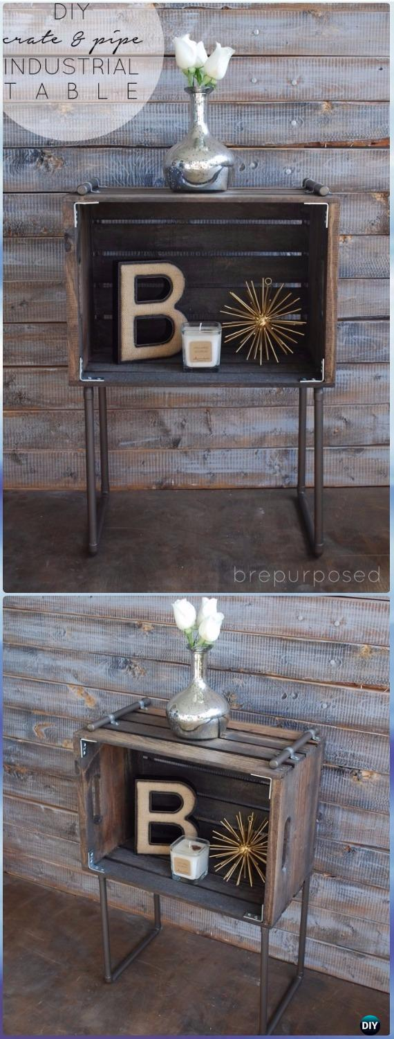 DIY Wood Crate Pipe Industrial Table Instructions- DIY Wood Crate Furniture Ideas Projects