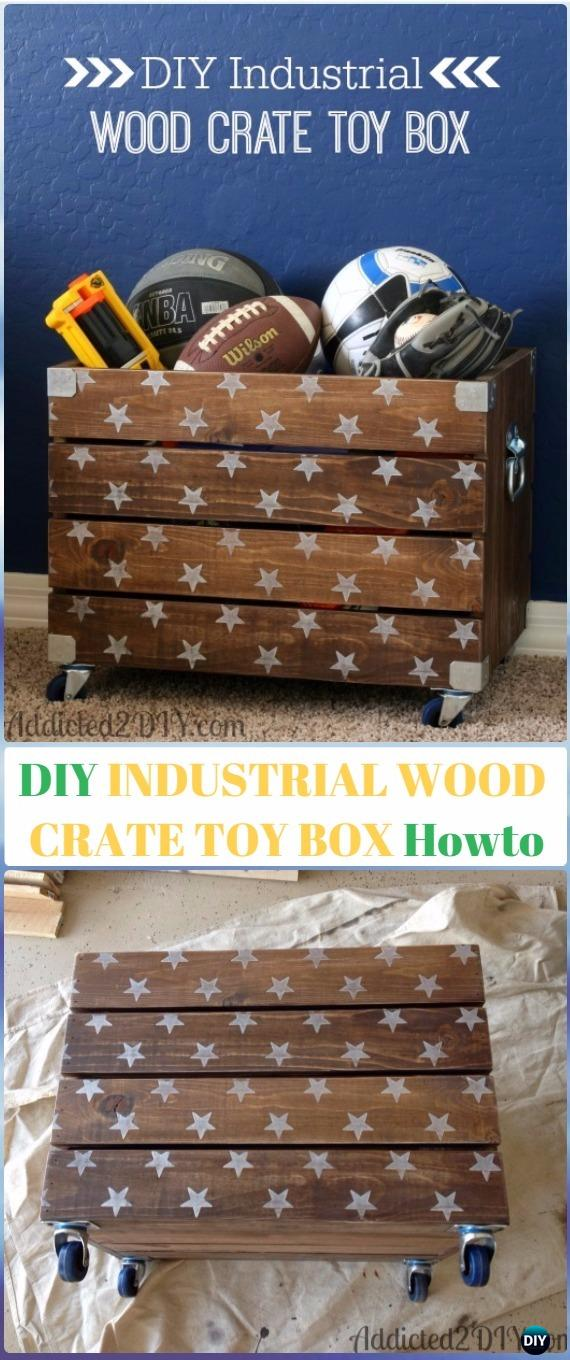 DIY Industrial Wood Crate Toy Box  Instructions - DIY Wood Crate Furniture Ideas Projects