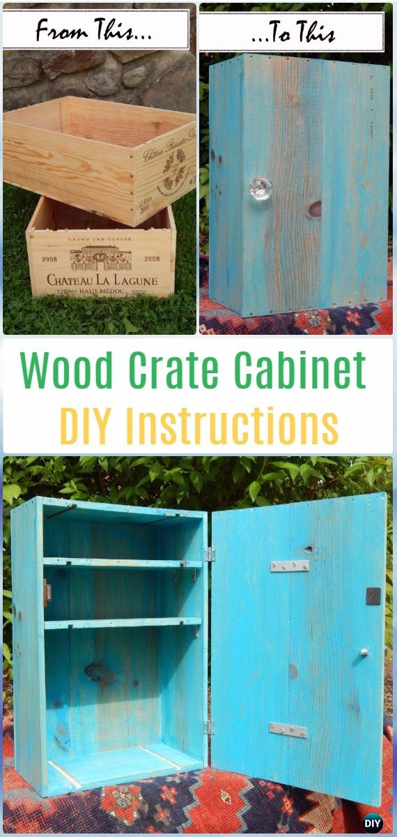 DIY Wood Crate Cabinet Instructions - DIY Wood Crate Furniture Ideas Projects