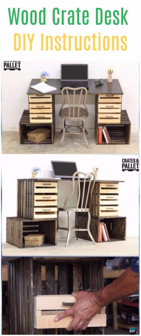 DIY Wood Crate Desk Instructions - DIY Wood Crate Furniture Ideas Projects