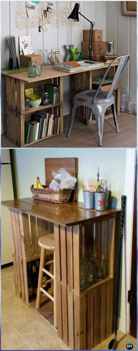 DIY Wood Crate Office Table Instructions - DIY Wood Crate Furniture Ideas Projects
