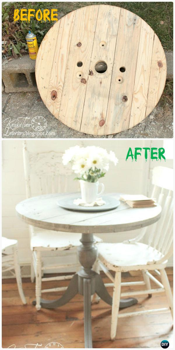 DIY Wire Spool Dining Table Instructions - Wood Wire Spool Recycle Ideas