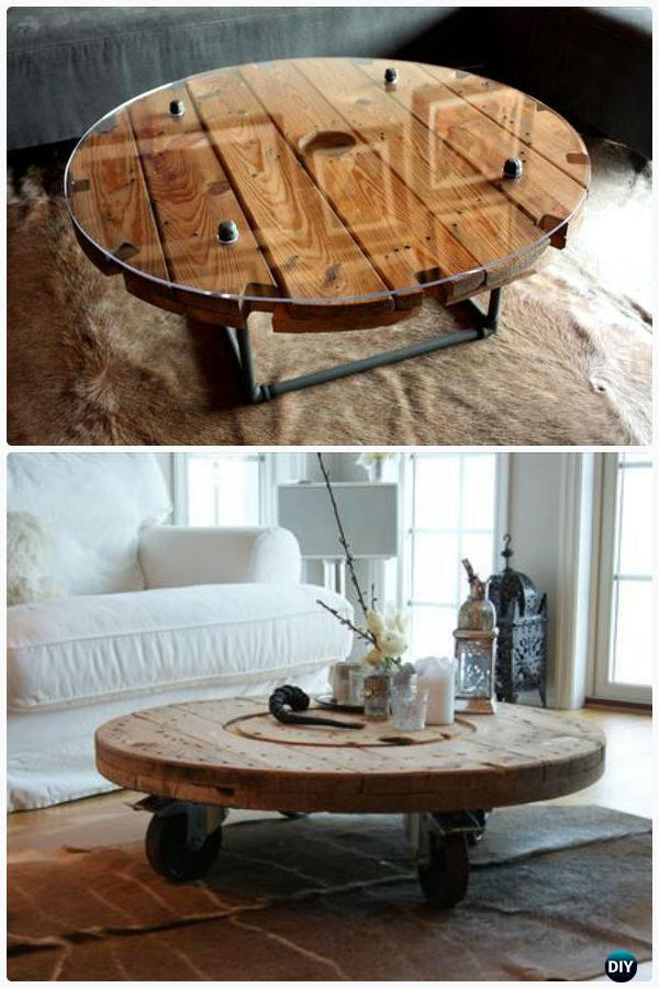DIY Wire Spool Coffee Table - Wood Wire Spool Recycle Ideas • DIY How To