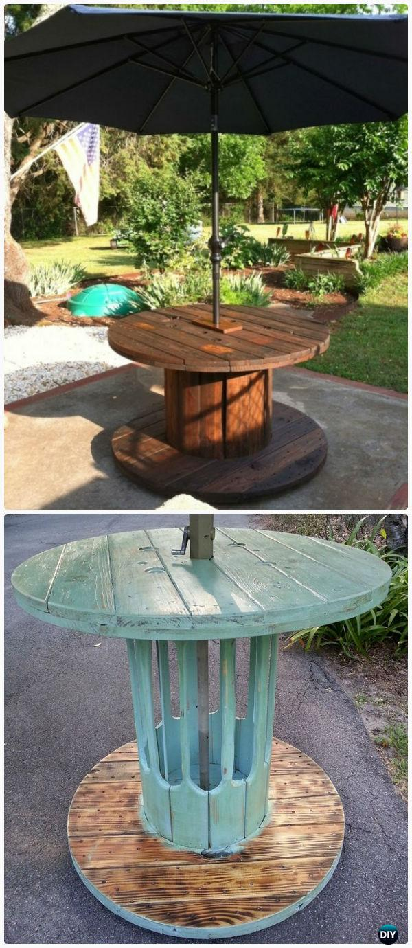 DIY Wire Spool Patio Table - Wood Wire Spool Recycle Ideas
