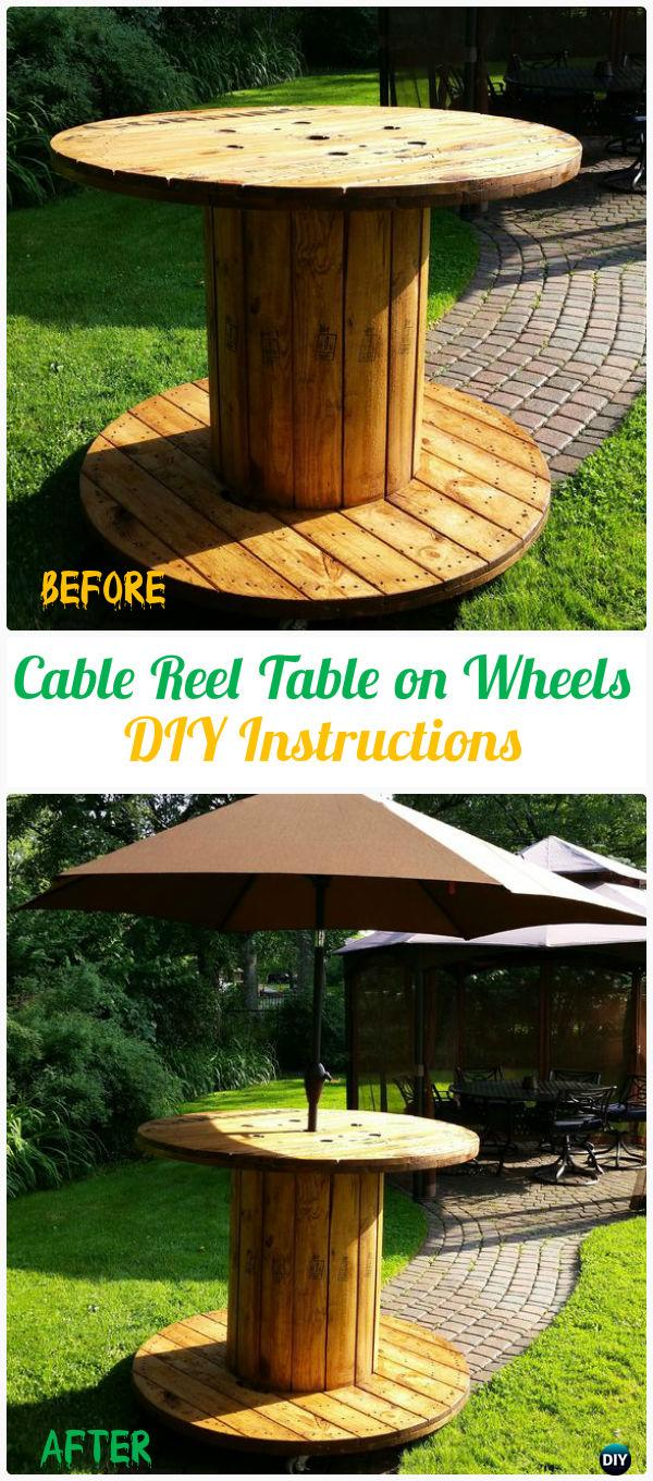 DIY Wire Spool Reel Table on Wheels Instruction - Wood Wire Spool Recycle Ideas