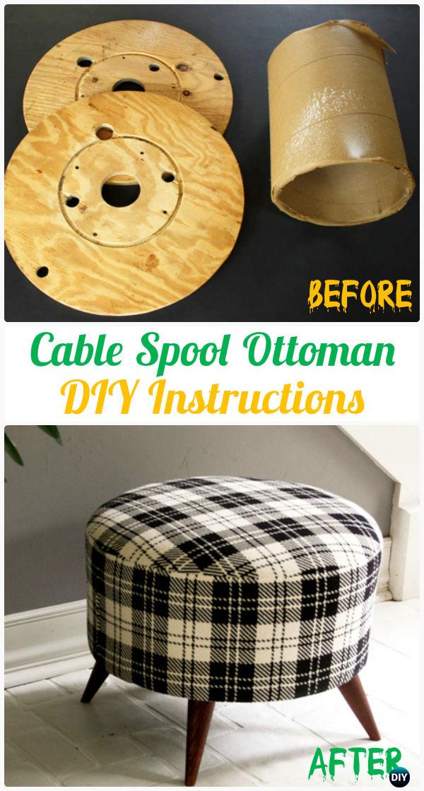 DIY Cable Spool Ottoman Instruction - Wood Wire Spool Recycle Ideas