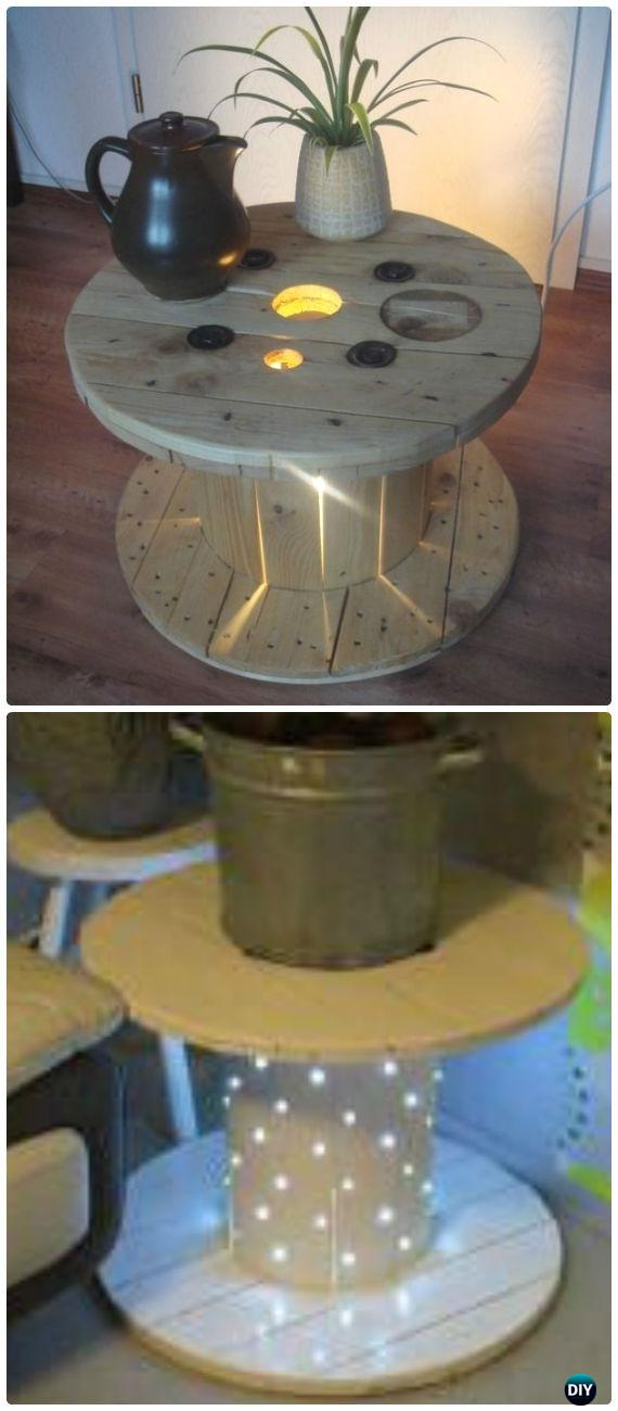 DIY Lighted Wood Spool Table Instruction - Wood Wire Spool Recycle Ideas