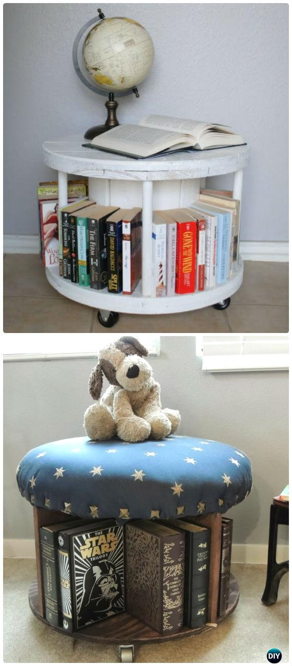 DIY Wire Spool Bookcase Instruction - Wood Wire Spool Recycle Ideas