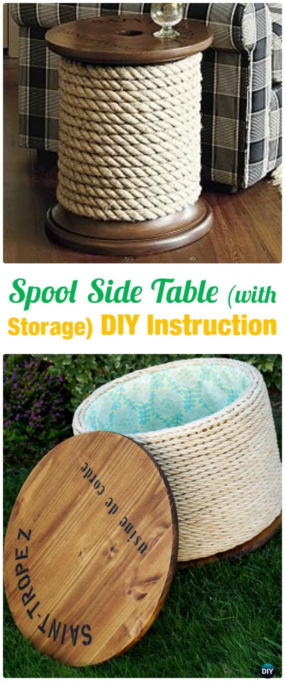 DIY Wood Spool Side Table with Storage Instruction - Wood Wire Spool Recycle Ideas