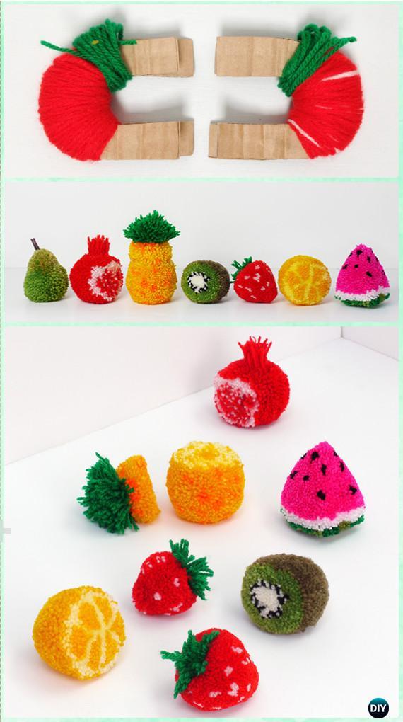 DIY Yarn Pom pom Fruit Instruction - Yarn Crafts No Crochet