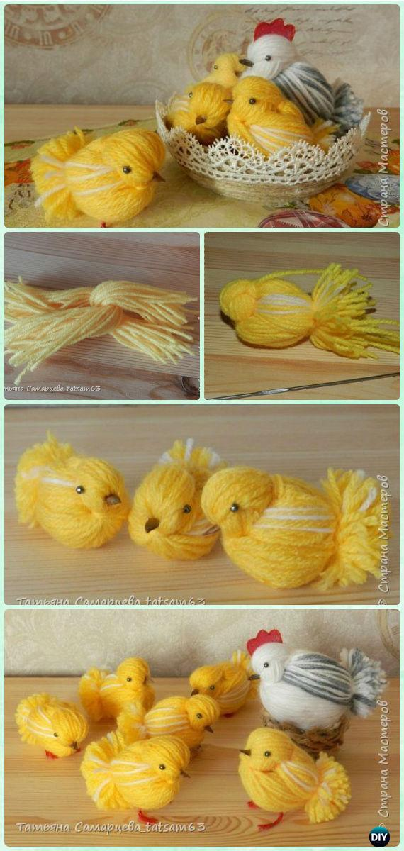 DIY Yarn Chickens Instruction - Yarn Crafts No Crochet