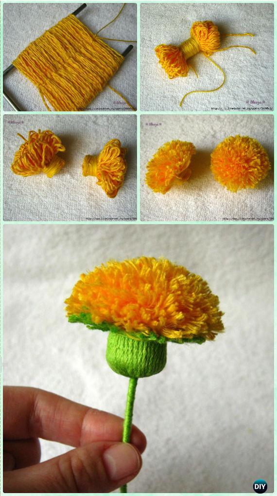 DIY Yarn Dandelion Instruction - Yarn Crafts No Crochet