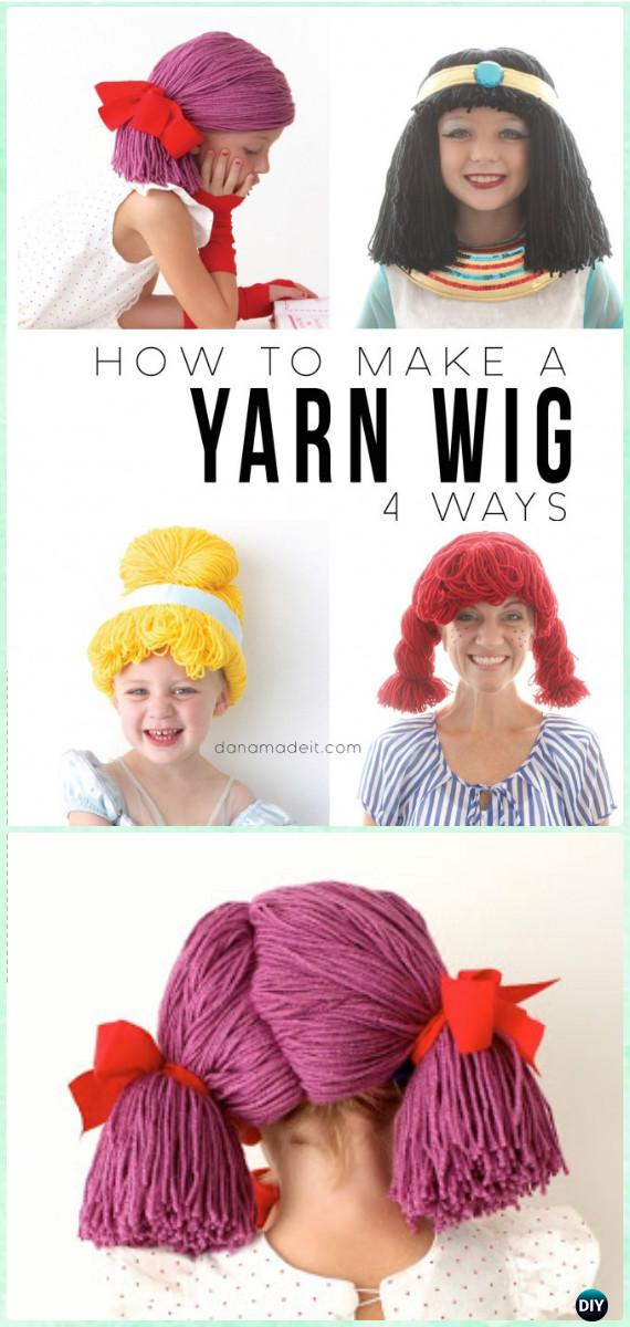 DIY Yarn Wigs Instruction 4 Ways - Yarn Crafts No Crochet