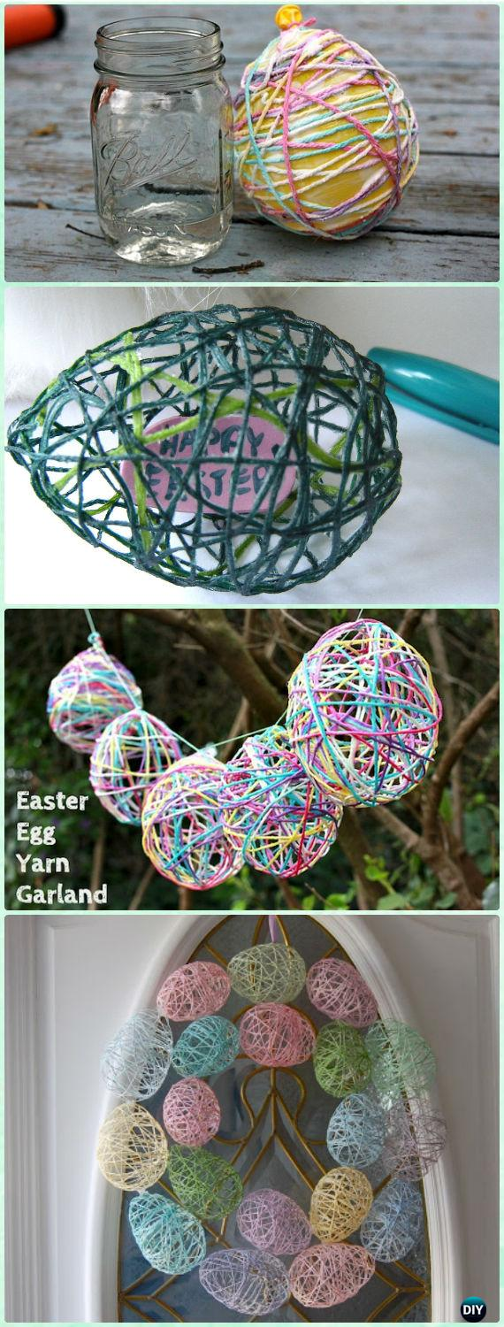 DIY Yarn Easter Egg Treats Wreath Instruction- Yarn Crafts Ideas No Crochet