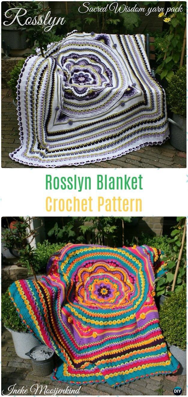 Crochet Rosslyn Blanket Paid Pattern - Crochet Flower Blanket Patterns