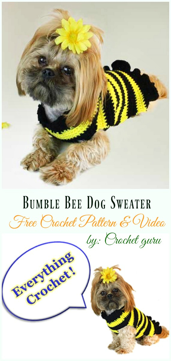 Bumble Bee Dog Sweater Crochet Free Pattern&Video - #Dog; #Sweater; #Crochet; Free Patterns