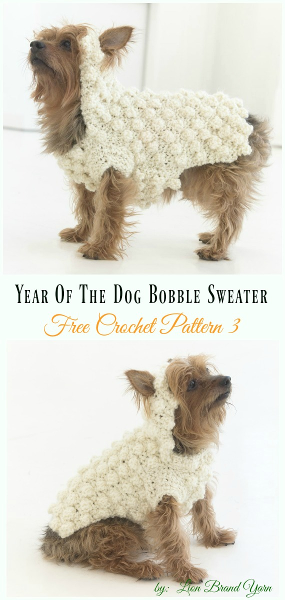 Year Of The Dog Bobble Sweater Crochet Free Pattern - #Dog; #Sweater; #Crochet; Free Patterns