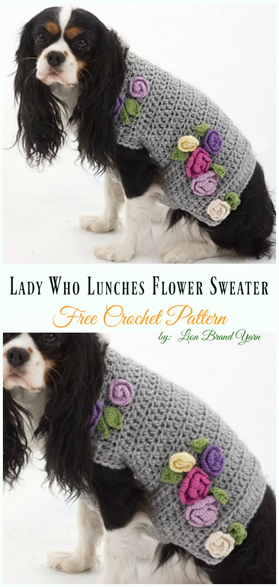 Lady Who Lunches Flower Sweater Crochet Free Pattern - #Dog; #Sweater; #Crochet; Free Patterns