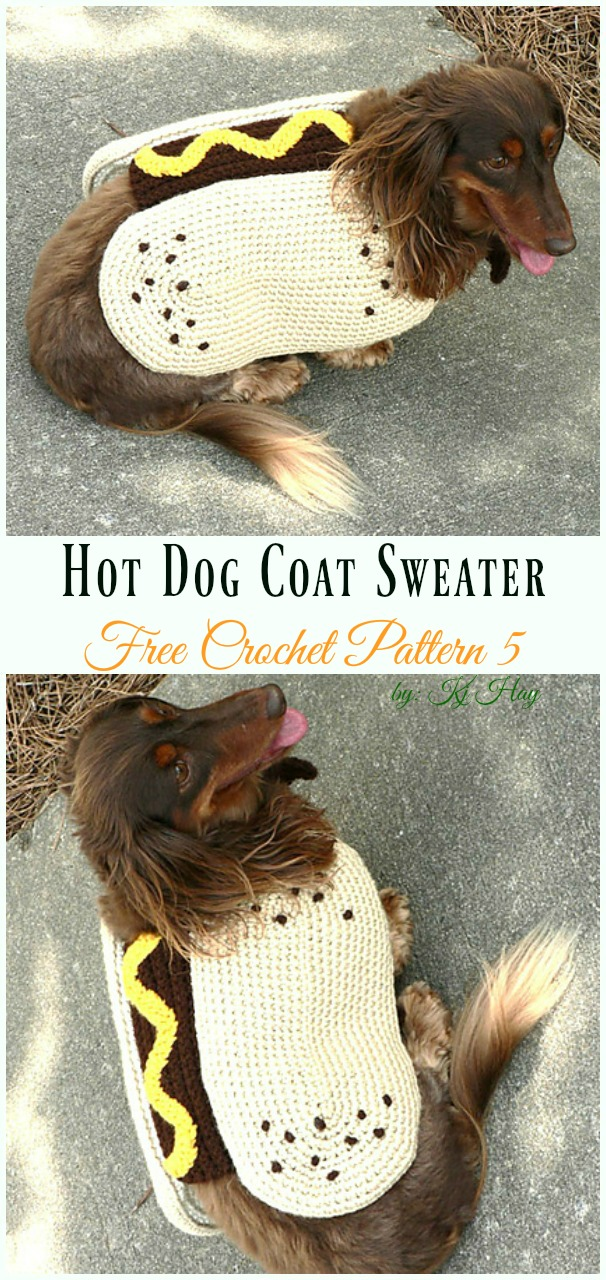 Hot Dog Coat Crochet Free Pattern - #Dog; #Sweater; #Crochet; Free Patterns