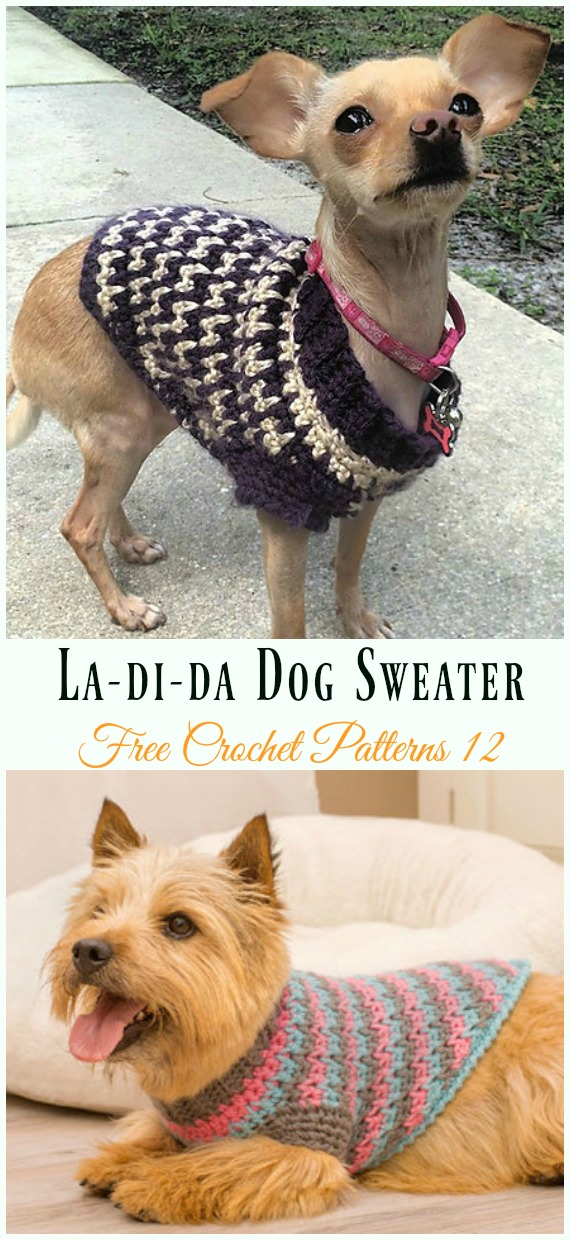 La Di Da Dog Sweater Crochet Free Pattern Dog Sweater