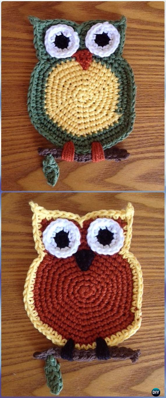 Crochet Owl Coaster Free Pattern-Crochet Owl Ideas Free Patterns