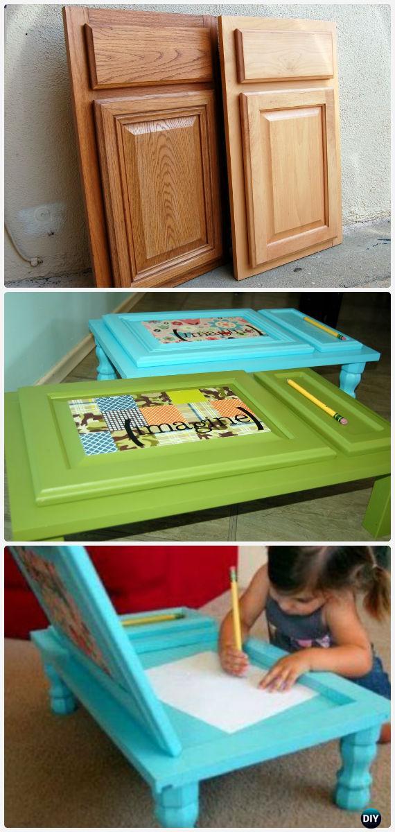 DIY Kids Cupboard Door Art Desk Instructions - Back-To-School Kids Furniture DIY Ideas Projects
